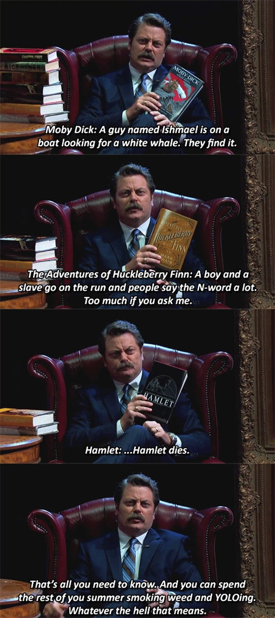 Ron Swanson's Spoiling Old Classics
