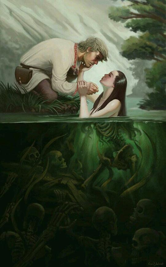 funny-beautiful-woman-lake-trap-illustration