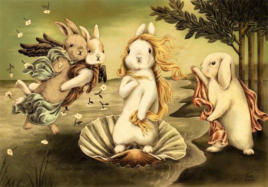 funny-bunny-painting-Venus-cute