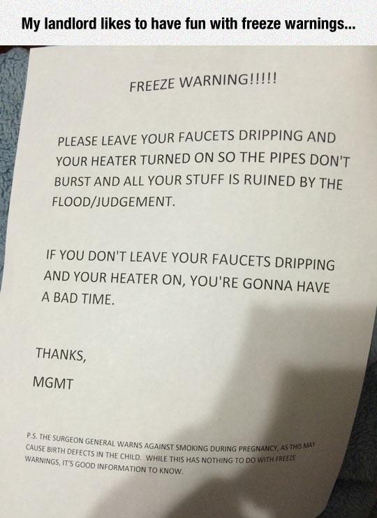 This Landlord Has A Good Sense Of Humor
