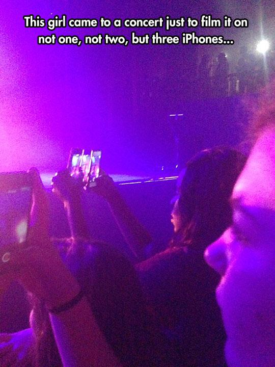 funny-girl-filming-three-iPhones-concert