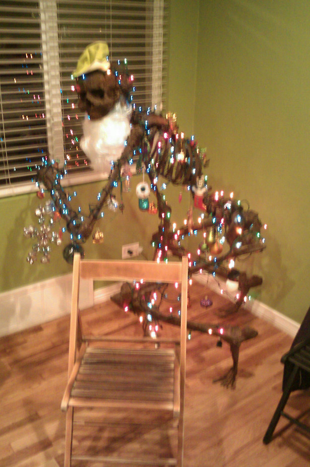 Decorated Red Christmas Tree