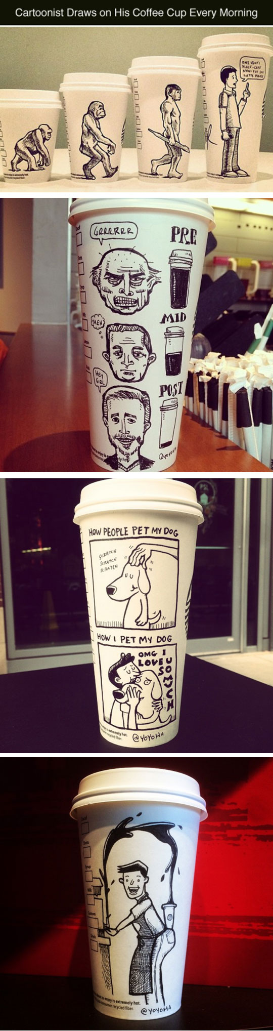 Drawing In A Coffee Cup Every Morning
