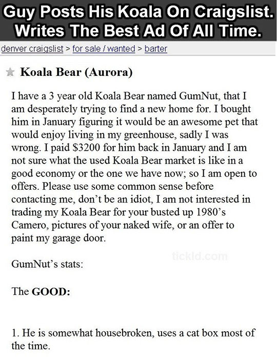 Best Craigslist Ad Of All Time