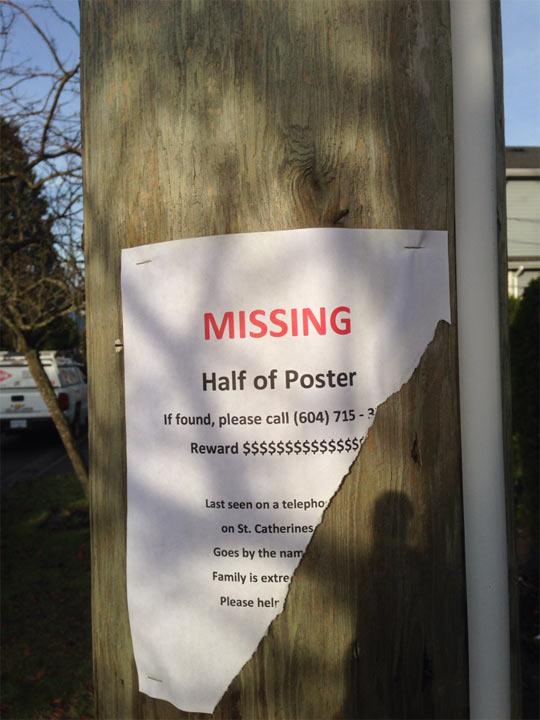 Missing Half Of Poster