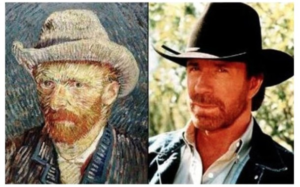 loffee.com-Celebrity-Time-Travelers-Chuck-Norris-Vincent-Van-Gogh