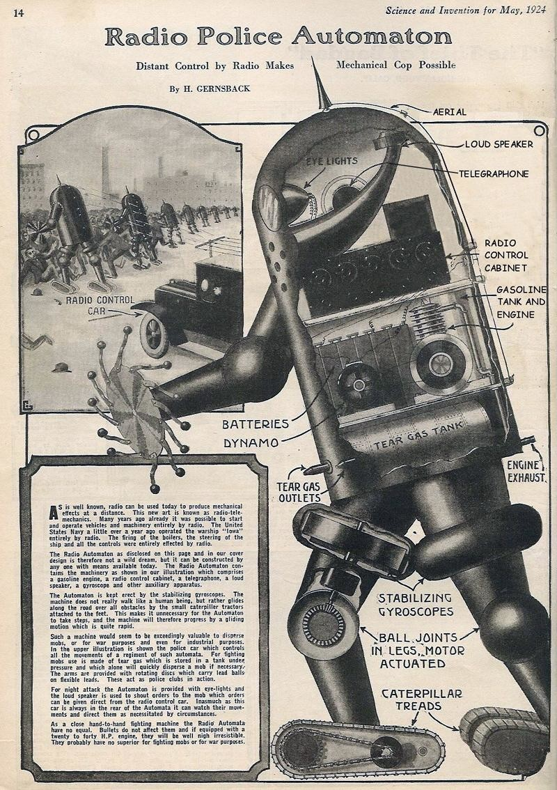 A sketch for a mechanical police controlled by radio from 1924
