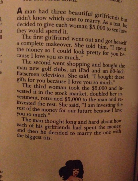 funny-choosing-woman-money-test-story