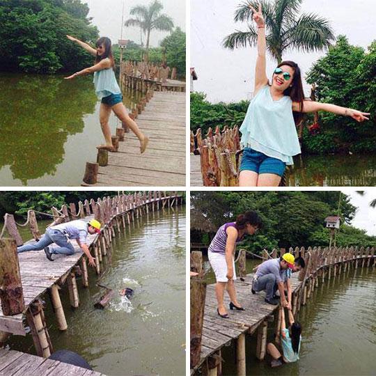 funny-girl-posing-bridge-falling-water