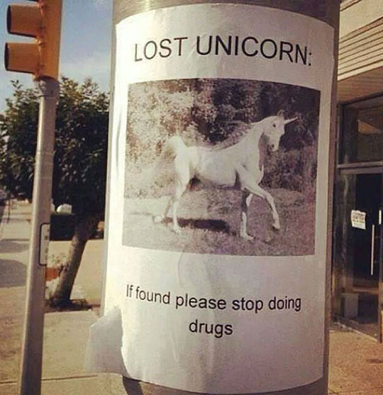 funny-lost-sign-unicorn-drugs