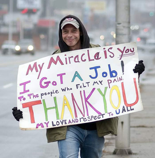 Man Thanking The Community After Securing A Job