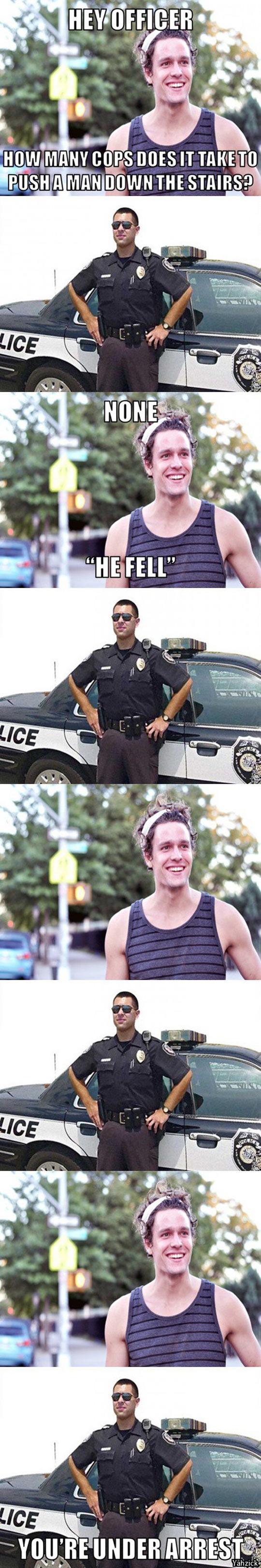 funny-officer-pun-joke-man-down-stairs