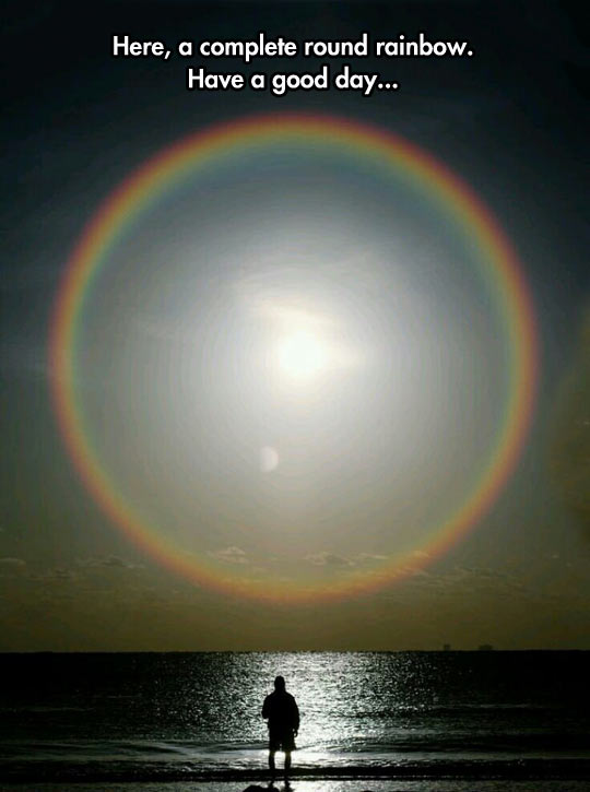 Circle Rainbow Over The Sea