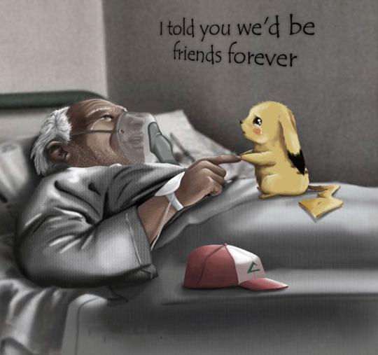 cute-cartoon-Ash-hospital-bed-Pikachu-Pokemon