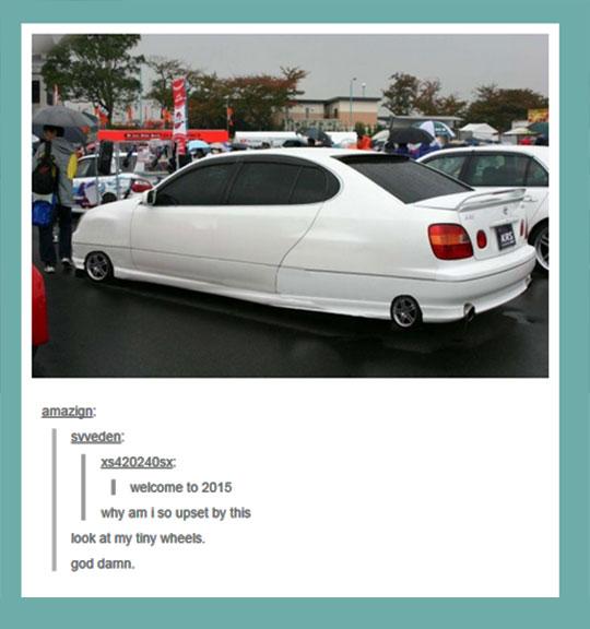 funny-car-tiny-wheels-parking-lot