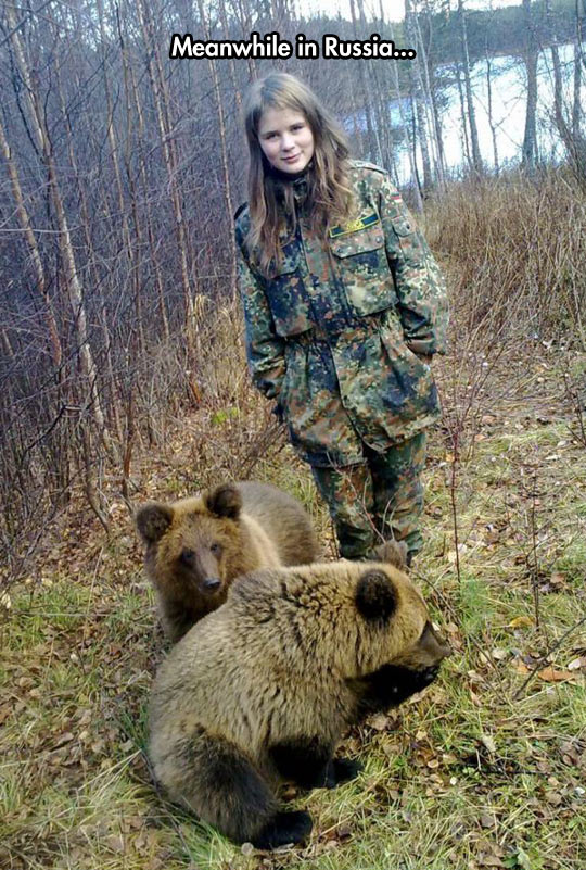 funny-girl-bears-forest-lake-babies-soldier