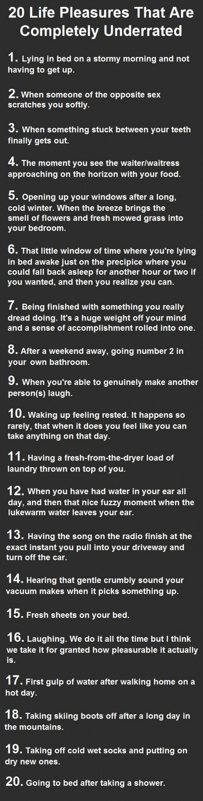 20 Life Pleasures That Are Completely Underrated. These Are Heaven.