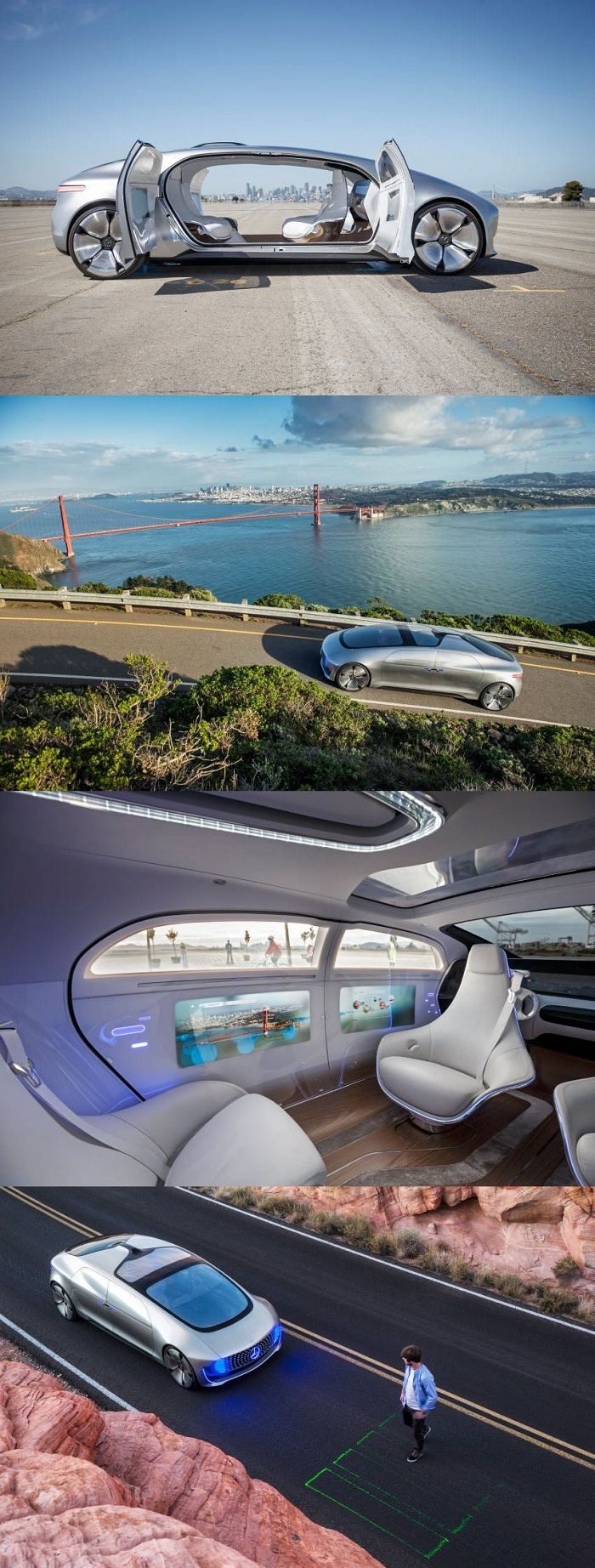 Driverless Mercedes tested in San Francisco can project cross-walk via laser