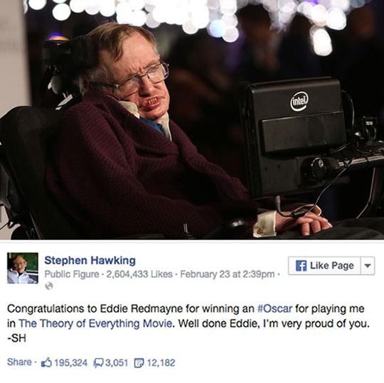 Hawking Congratulating Eddie Redmayne On Facebook