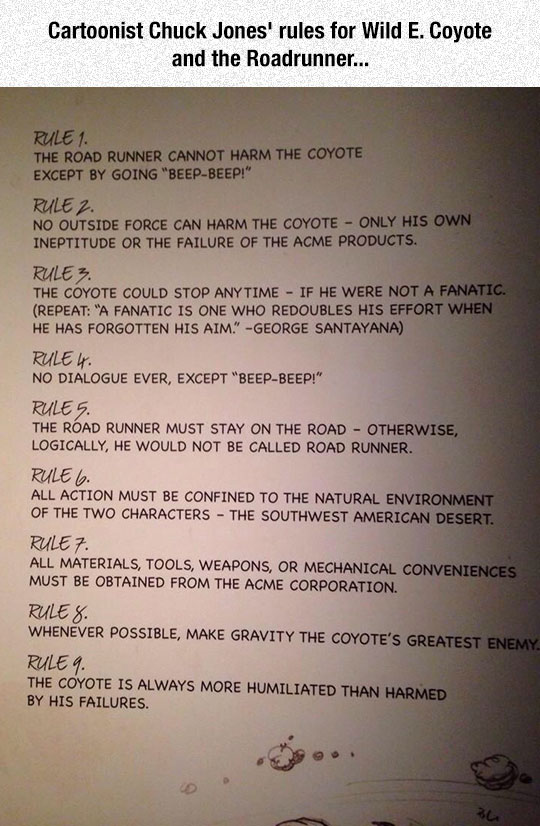 Rules For Wile E. Coyote