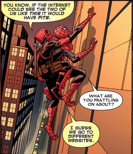 Deadpool And Spiderman On The Internet