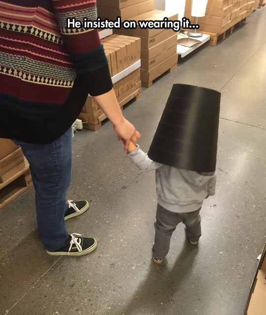 He Feels Safe With A Bucket In His Head