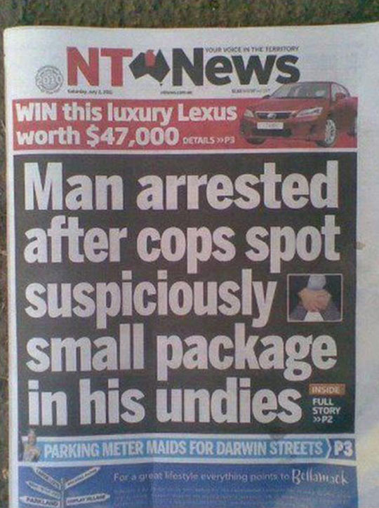 funny-newspaper-arrested-package-man