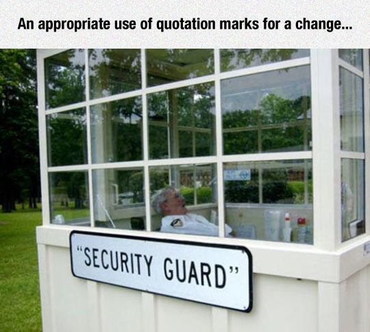 funny-security-guard-sleeping-quotation-marks