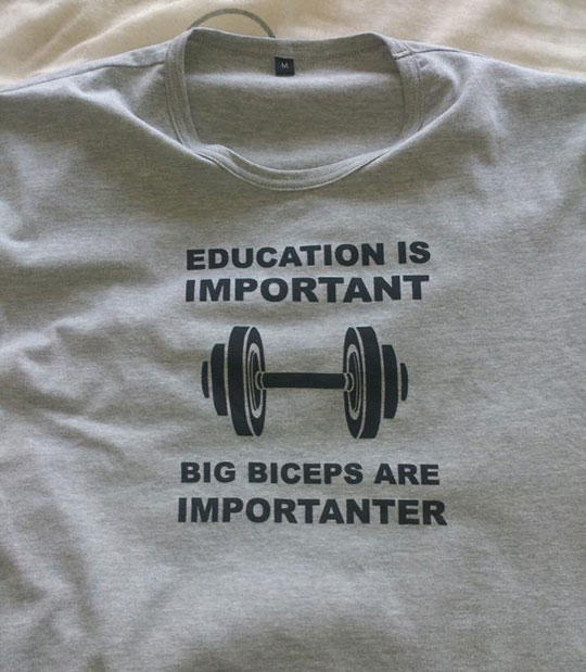 funny-shirt-gym-weight-education-important