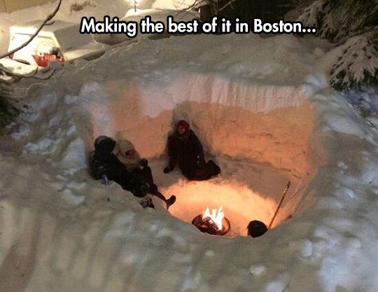 The Coolest Boston Snow Fort