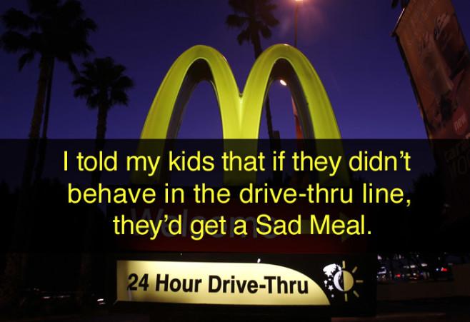 lies-parents-told-kids-drive-thru-sad-meal