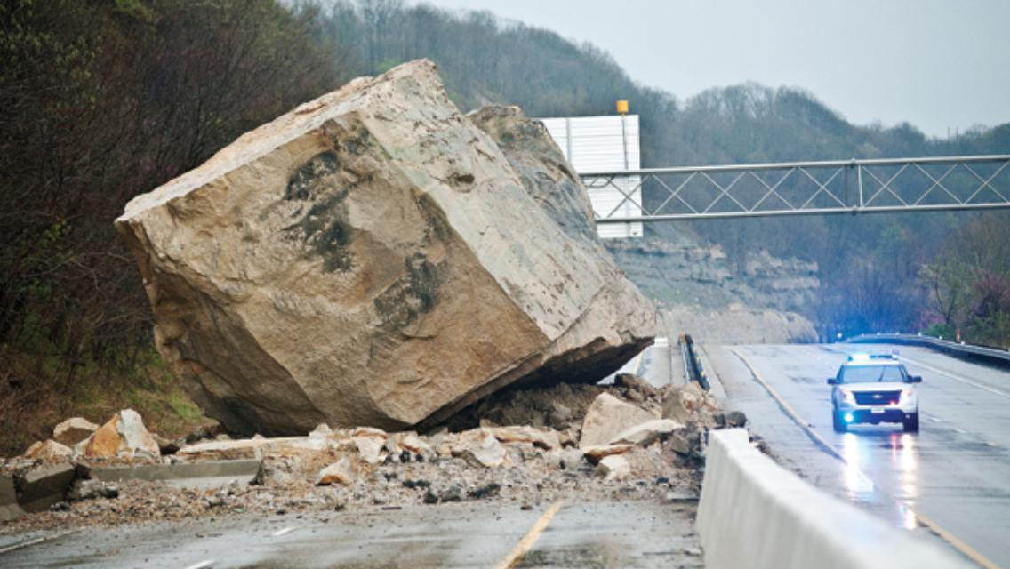 A giant boulder fell on the highway in Ohio.