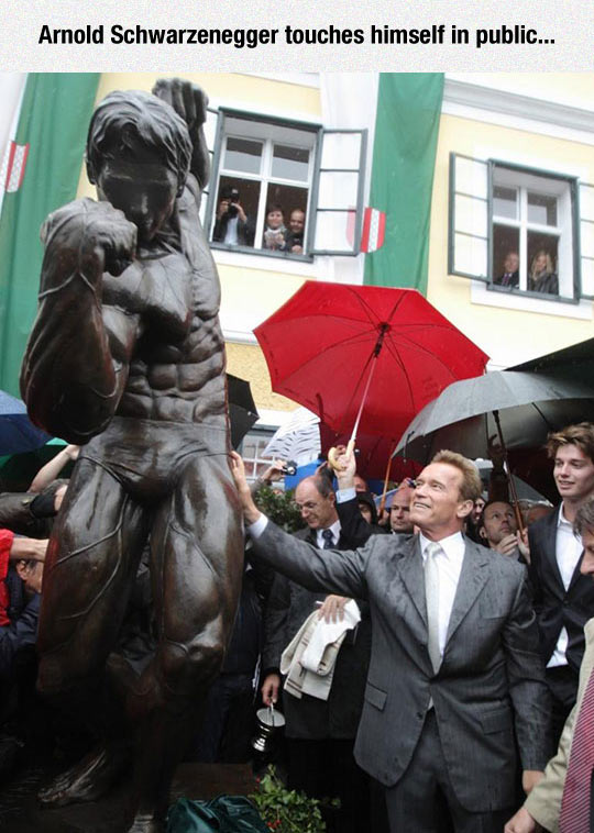 Arnold Schwarzenegger Touches Himself In Public