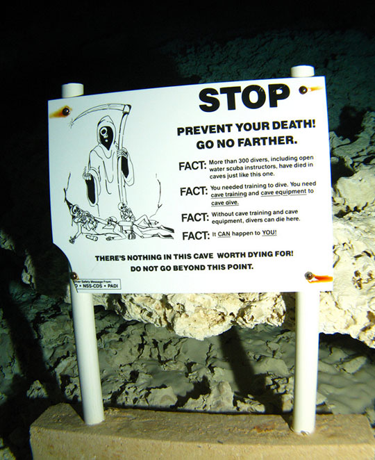 An Eerie Underwater Cave Death Warning Sign