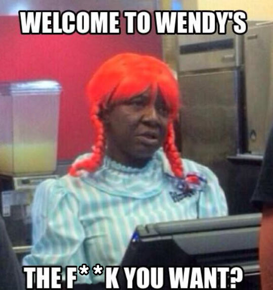 funny Wendy Restaurant ginger wig1 meanwhile at the hood