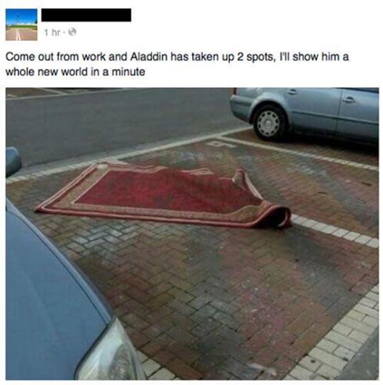 Aladdin Parks Like A Jerk