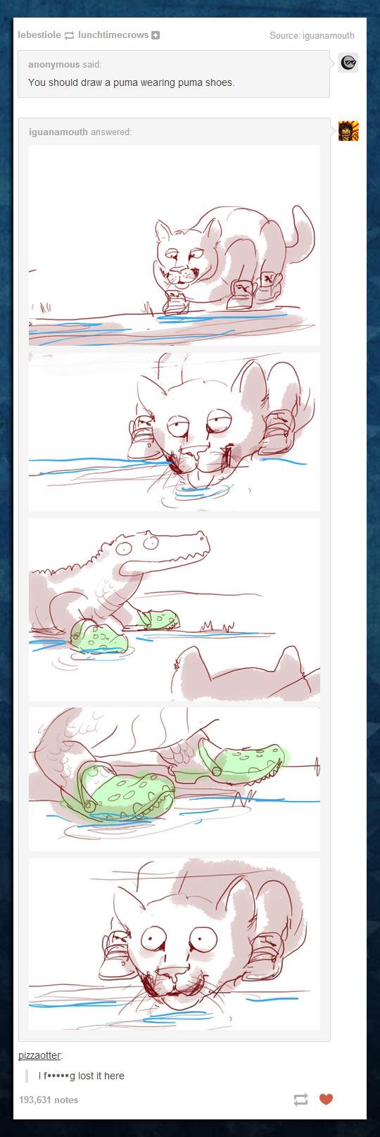 funny-drawing-Puma-wearing-Crocs