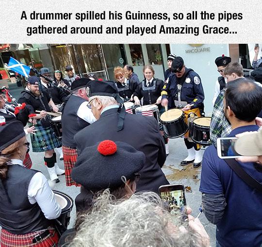funny-drummer-band-Irish-spilled-beer