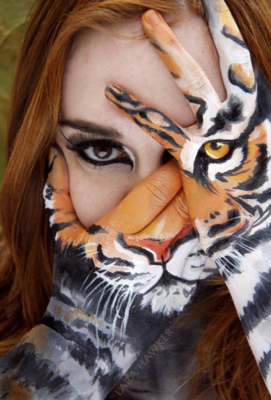 Tiger Mask Painted In Hands