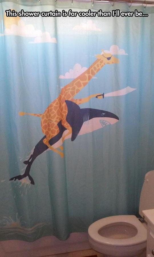funny-shark-giraffe-sword-ride-shower-curtain