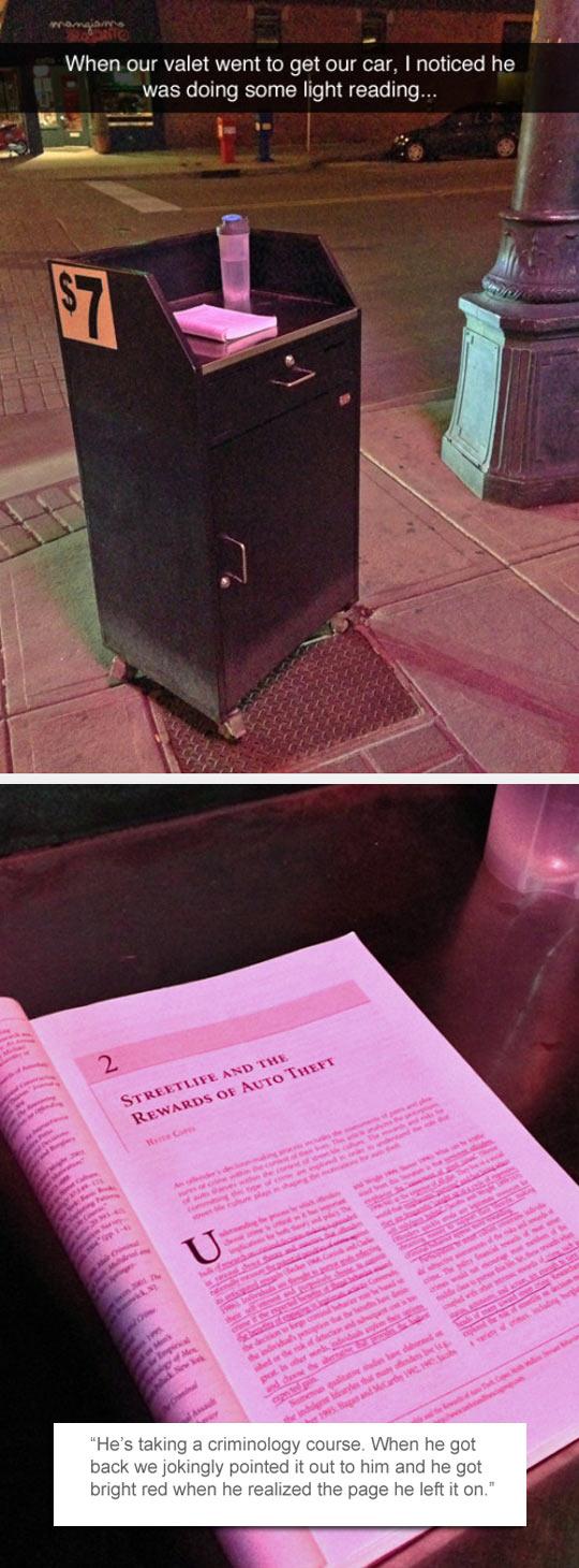 funny-valet-car-book-reading-criminology
