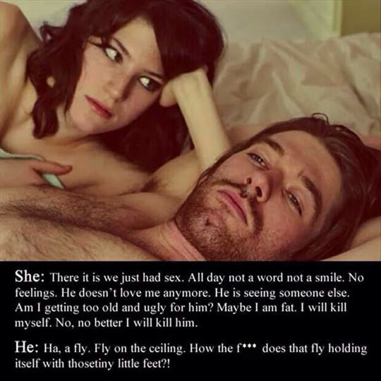 funny-woman-looking-man-thinking-bed