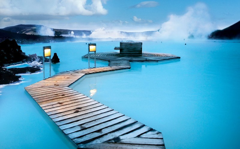 Blue Lagoon, Iceland. The pools are naturally heated by volcanic power underground