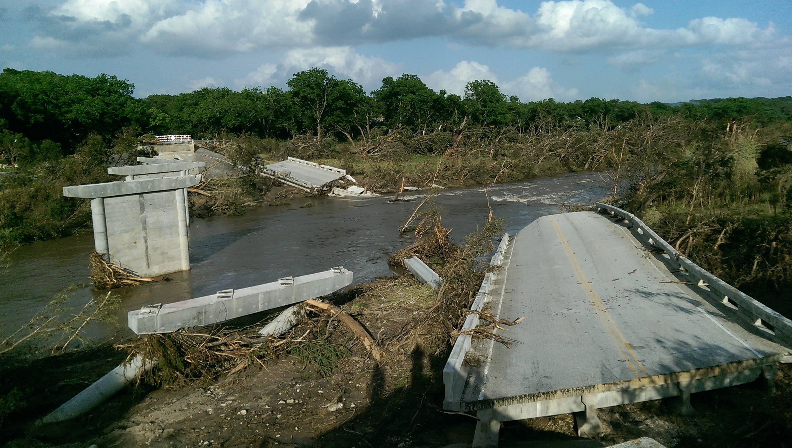 Bridge in central Texas that was taken out by the flooding