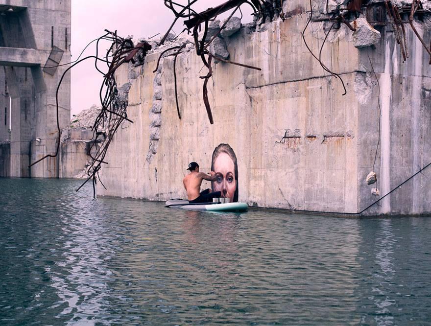 Street art on quarry walls.
