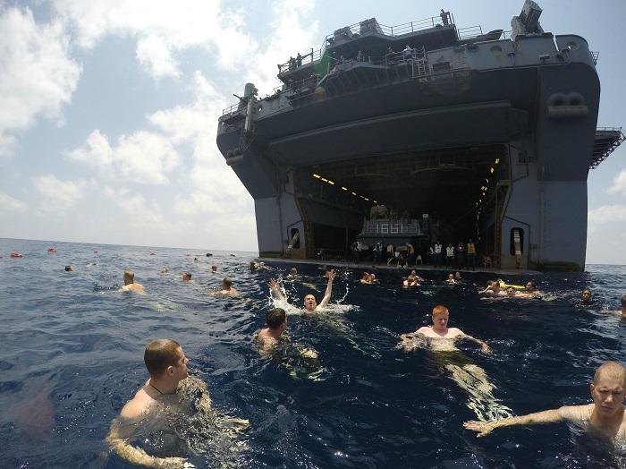 Swim call in the Gulf of Aden