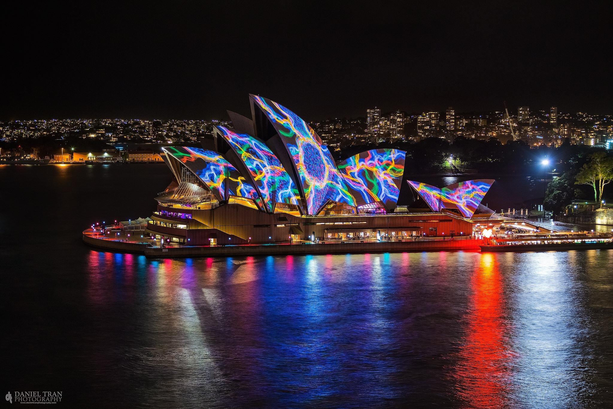 Vivid art installations over Sydney Opera house