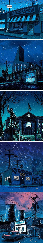 cool-Springfield-night-illustration-Simpsons