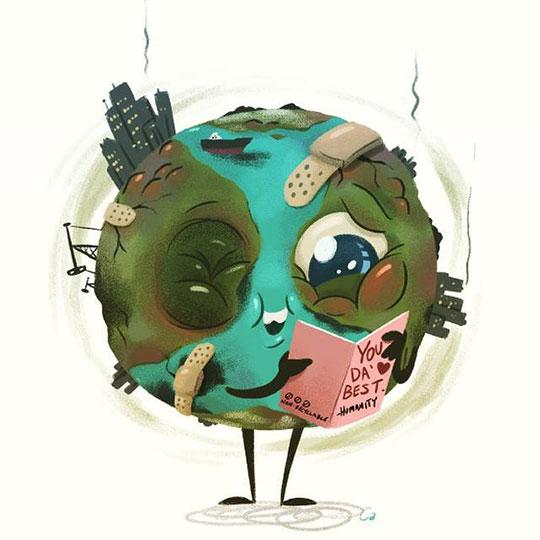 funny-Earth-cartoon-reading-card-sick