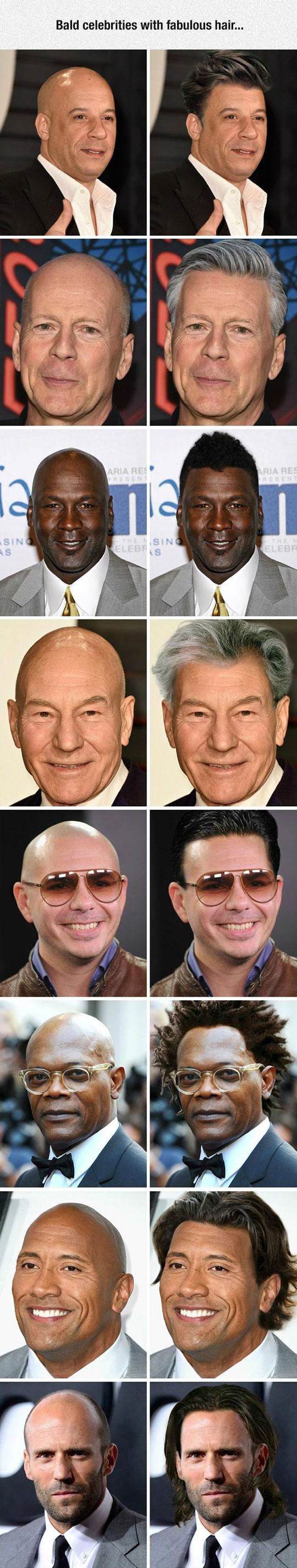 If Bald Celebrities Had Hair